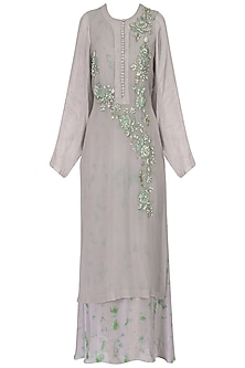 Grey floral embroidered kurta with tie and dye inner