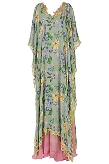 Pink shaded dress with green floral print cape by EAU