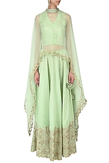 Sea green embroidered crop top and skirt with scalloped cape by EAU