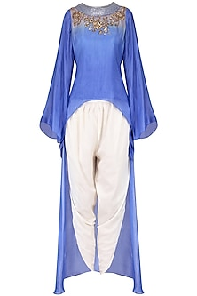 Blue embroidered high low top with off white dhoti pants