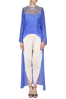 Blue embroidered high low top with off white dhoti pants by EAU