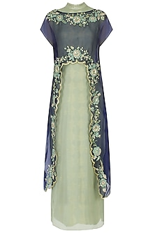 Green and navy embroidered cape dress