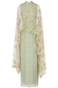 Green and gold embroidered cape dress