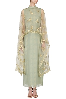 Green and gold embroidered cape dress by EAU