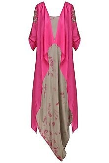 Ash Brown Asymmetrical Dress with Magenta Pink Embroidered Jacket
