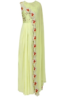 Mint Green Anarkali Gown with Embroidered Drape Dupatta