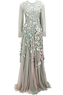 Green ombre leaves embroidered 3D applique work grandeur trail gown