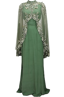 Green cutout goddess gown with embroidered high low sheer cape
