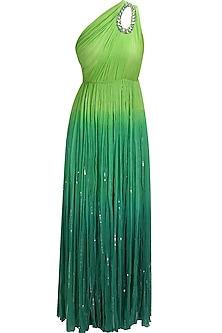 Green ombre sequins embellished one shoulder trinkerbell gown