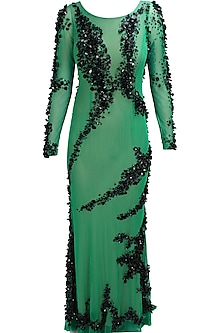 Green and black sequins and beads embellished helen gown