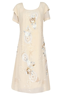 Beige Rosette Pattern High Low Dress With Plaited Tie Up Robe Belt