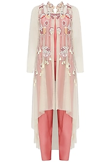 Beige 3D Applique Tassel Beaded Hand Embroidery Jacket With Pink Crop Top And Palazzo Pants Set
