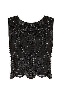Black Beads And Sequins Embellished Crop Top by Elysian By Gitanjali