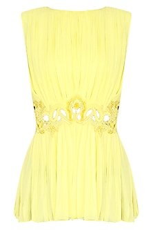 Lemon Yellow Cut-Work Sequinned Top