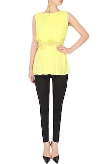 Lemon Yellow Cut-Work Sequinned Top by Elysian By Gitanjali