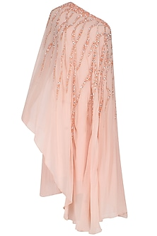Peach One Shoulder Sequins Embellished Asymmetric Dress