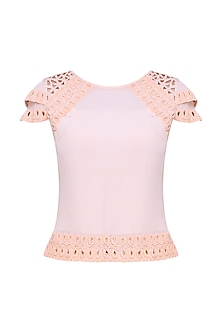 Peach Hand Embroidered Top