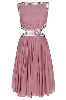 Onion Pink Sequins Embellished Cut Out Dress