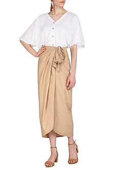 Beige Tie-Up Drape Skirt by Echo