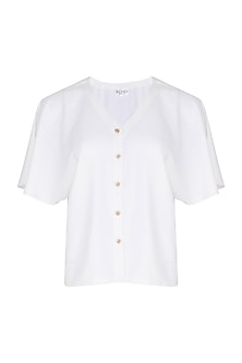 White Button Down Flared Dress by Echo