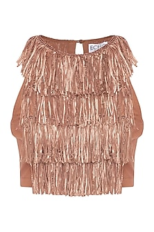 Brown embellished crop top by ECHO