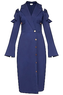 Navy blue front open trench dress