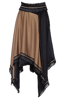 Brown and black asymmetrical carpet skirt by ECHO