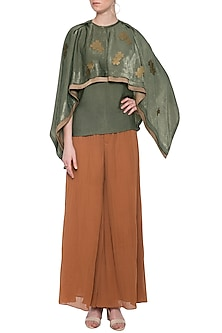 Green embellished cape top by ECHO
