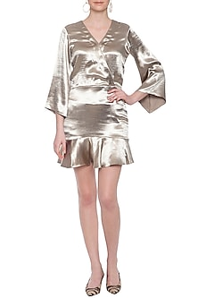 Champagne gold overlap dress by ECHO