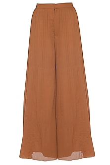 Brown pleated flared pants