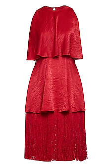 Red tiered tassels dress