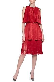 Red tiered tassels dress by ECHO