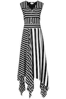 Black and White Striped Hankerchief Dress