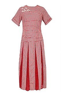 Red and White Gingham Checked Midi Dress