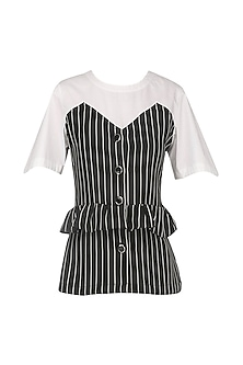 Black and White Striped Peplum Top by Echo