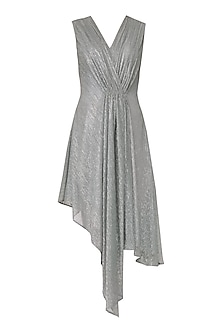 Silver Asymmetrical Drape Dress