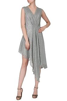 Silver Asymmetrical Drape Dress by Echo