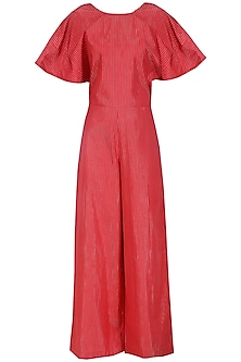 Red Drape Sleeves Jumpsuit