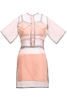 Pink Sheer Front Open Dress