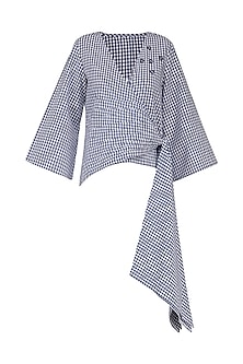 Blue and White Gingham Checked Wrap Top