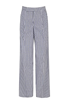 Blue and White Gingham Checked Pants