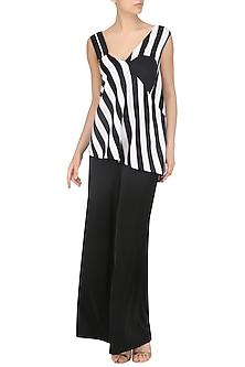 Black and White Striped Asymmetrical Top by Echo