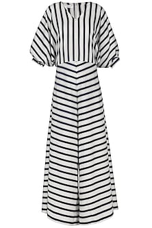 Blue and White Striped Jumpsuit by Echo