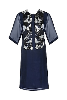 Navy Blue Sequins Embroidered Dress