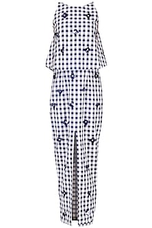 Blue and White Checked Maxi Dress