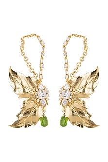 Gold Finish White & Parrot Green Earrings by AETEE