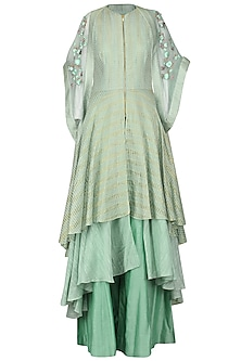 Mint Green Embroidered Kurta with Palazzo Pants and Cape