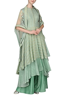 Mint Green Embroidered Kurta with Palazzo Pants and Cape by Inchee tape