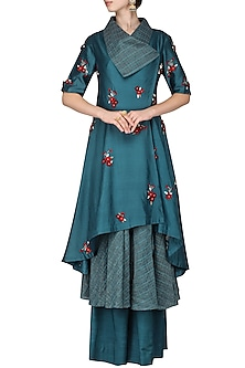Dark Blue Draped Collar Kurta with Palazzo Pants by Inchee tape