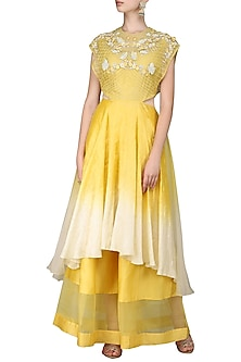 Yellow Embroidered Kurta with Palazzo Pants by Inchee tape